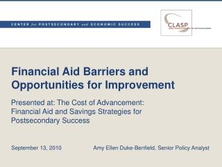 Financial Aid Barriers and Opportunities for Improvement