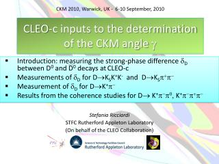 CLEO-c inputs to the determination of the CKM angle  g