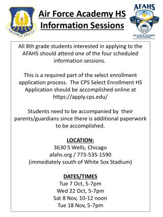 Air Force Academy HS  Information  Sessions