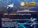 ONR   Overview of Budget