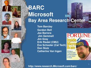 BARC Microsoft  Bay Area Research Center  Tom Barclay  Gordon Bell  Joe Barrera   Jim Gemmell   Jim Gray  Erik Riedel CM