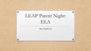 LEAP Parent Night: ELA