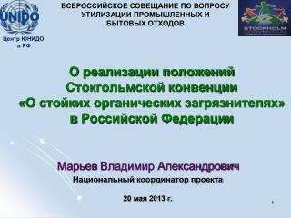 Марьев  Владимир Александрович Национальный координатор проекта 20 мая 2013 г.