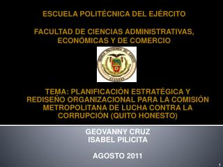 ESCUELA POLITÉCNICA DEL EJÉRCITO FACULTAD DE CIENCIAS ADMINISTRATIVAS, ECONÓMICAS Y DE COMERCIO