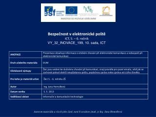 Bezpečnost v elektronické poště ICT,  5. – 6.  ročník VY_32_INOVACE_199,  10. sada, ICT