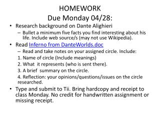 HOMEWORK Due Monday 04/28: