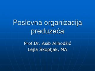 Poslovna organizacija preduzeća