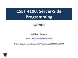 CSET 4100: Server-Side Programming