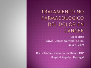 Tratamiento no farmacológico del dolor en cáncer