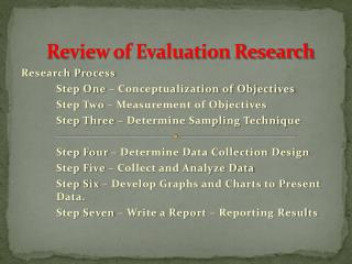 Review of Evaluation Research