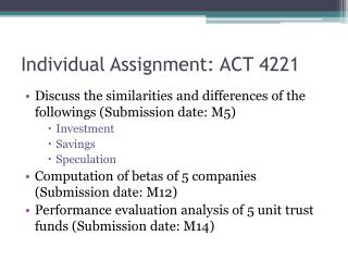 Individual Assignment: ACT 4221
