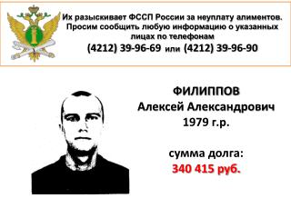 ФИЛИППОВ Алексей Александрович 1979 г.р. с умма долга: 340 415 руб.