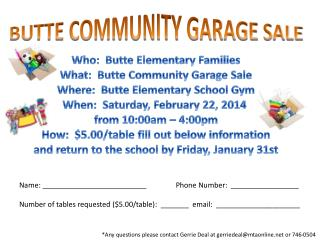 BUTTE COMMUNITY GARAGE SALE
