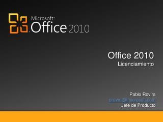Office 2010 Licenciamiento