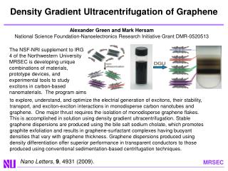 Density  Gradient Ultracentrifugation  of Graphene