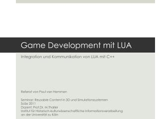 Game Development mit LUA