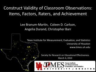 Construct Validity of Classroom Observations: Items, Factors, Raters, and Achievement