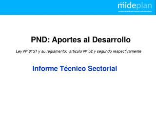 PND: Aportes al Desarrollo