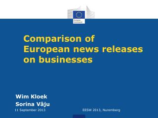 Comparison of  European  news releases on businesses