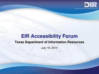 EIR Accessibility Forum