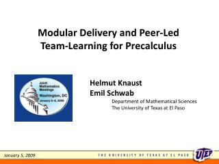 Modular Delivery and Peer-Led Team-Learning for Precalculus
