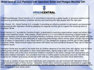 Hired Central, LLC Partners with Operation Smile and Pledges