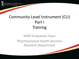 Community-Level Instrument (CLI)  Part I Training