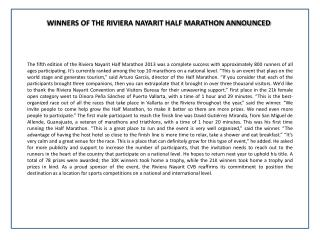 WINNERS OF THE RIVIERA NAYARIT HALF MARATHON ANNOUNCED