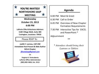 YOU'RE INVITED! NORTHSHORE IAAP MEETING