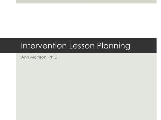 Intervention Lesson Planning