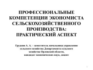 Профессиональные компетенции экономиста сельскохозяйственного производства: практический  аспект