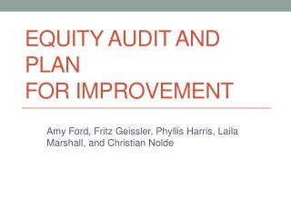 Equity Audit and Plan  for Improvement