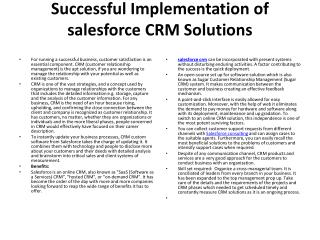Successful Implementation of salesforce CRM Solutions