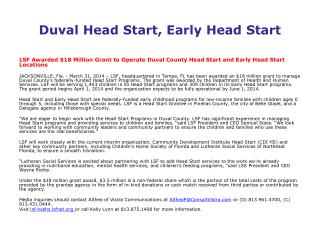 Duval Head Start, Early Head Start