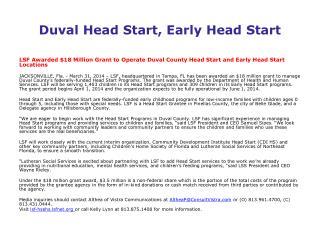 Duval Head Start, Early Head Start