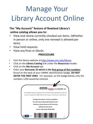 Manage Your  Library Account Online