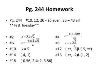 Pg. 244 Homework