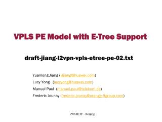 VPLS PE Model with E-Tree Support
