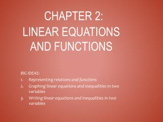 Chapter 2: Linear equations and functions