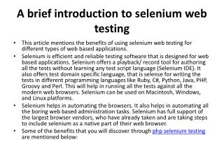 A brief introduction to selenium web testing