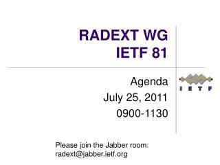 RADEXT WG IETF 81