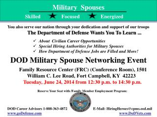 About  Civilian Career Opportunities Special Hiring Authorities for Military Spouses