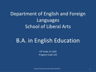 Department of English and Foreign Languages School of Liberal Arts