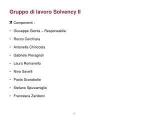 Gruppo di lavoro Solvency II