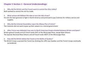 Chapter 5 Section 1  –General Understandings: