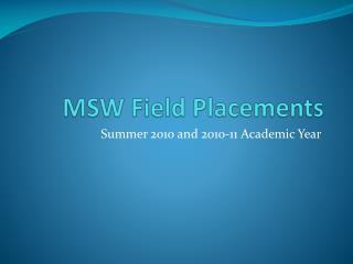 MSW Field Placements