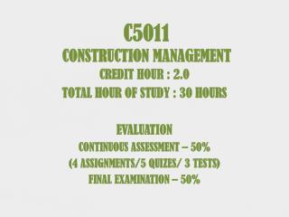 C5011 CONSTRUCTION MANAGEMENT