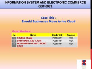 INFORMATION  SYSTEM AND ELECTRONIC  COMMERCE GST-5083