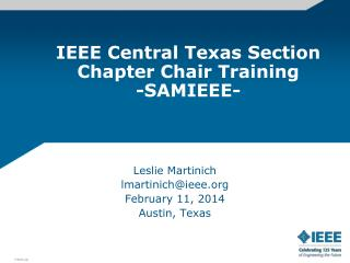 IEEE Central Texas Section Chapter Chair  Training - SAMIEEE-