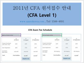 2011 년  CFA  원서접수 안내 (CFA Level 1) epasskorea , Tel:  1588-4691